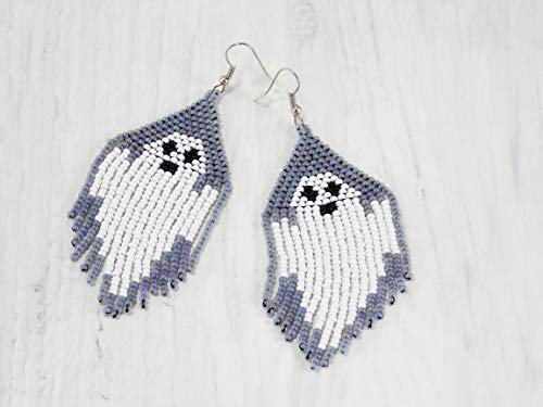Handmade White ghost earrings halloween outfits ghost jewelry holiday funky -