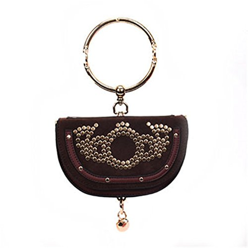 Pu amp;demons With Ring Handbag Leather Saddle Casual Bags Rivet Red Angels Handle Women Messenger EZd8Zq