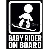 Baby Snowboard Rider On Board Die Cut Vinyl Car & Truck Decal, Window Sticker