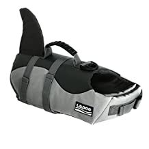 HAOCOO Dog Life Jacket, Fish Style Floatation Vest Saver Safety Swimsuit Preserver with Reflective Stripes/Adjustable Belt for Small Medium Large Dogs (Medium, Shark)