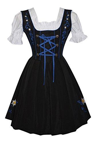 3-piece German Party Oktoberfest Dirndl Dress Black & Blue (16) by Edelweiss Creek (Image #1)