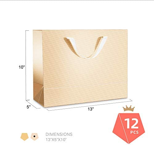 PACKQUEEN 12 Extra Large Gift Bags with Handles,16x6x12 Inches Large Gift Bags Bulk Shopping Bags Party Bags for All Occasions (Glossy Champagne Gold, Textured Finish)