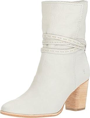 FRYE Women's Naomi Pickstitch Mid White Soft Vintage Bovine 8.5 B US