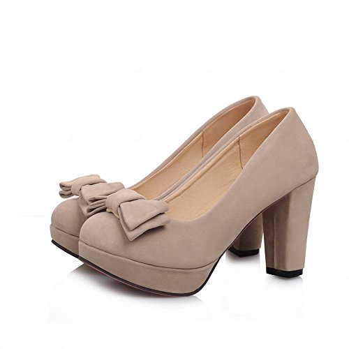 Show Shine Women's Fashion High-heel Nubuck Bows Upper Court Shoes Off-White j4fKMh