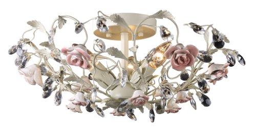 Elk 18096/3 Heritage 3-Light Semi-Flush In Cream And Porcelain Roses