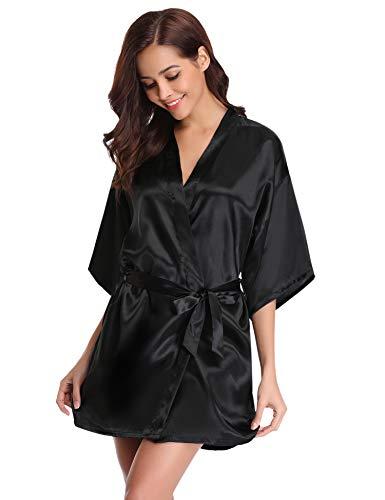 Nuisette Bain Mariée De Nuit Vêtements Chambre Robes Satin Déshabillé Kimono Aibrou Sortie Dentelle Noir Peignoir Robe Femme Lingerie zw8aqq1t