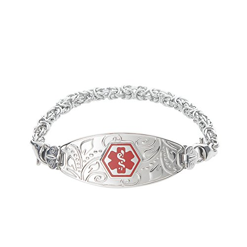 Divoti Custom Engraved Lovely Filigree Medical Alert Bracelet -Handmade Byzantine-Red-7.0