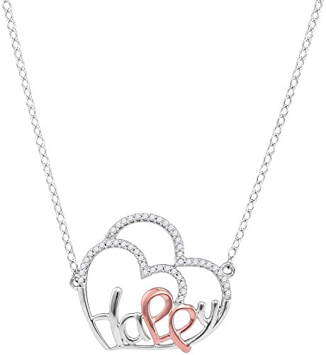 Jewels By Lux 10kt White Gold Womens Round Diamond Heart Happy Pendant Necklace 1/8 Cttw (I2-I3 clarity; J-K color) (Gold Happy Heart Diamond)
