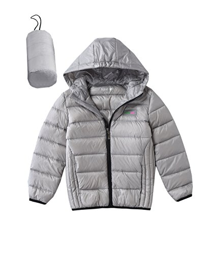 ightweight Hooded Down Jacket Winter Down Coat Grey 4T (Boys Puffy Jackets)