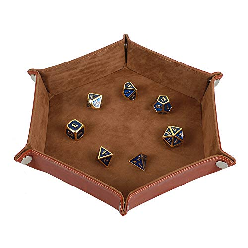 Dice Tray Metel Dice Rolling Tray, Holder Storage Box for RPG DND Table Games, Double Sided Folding Thick PU Leather and High-Class Velvet Camel