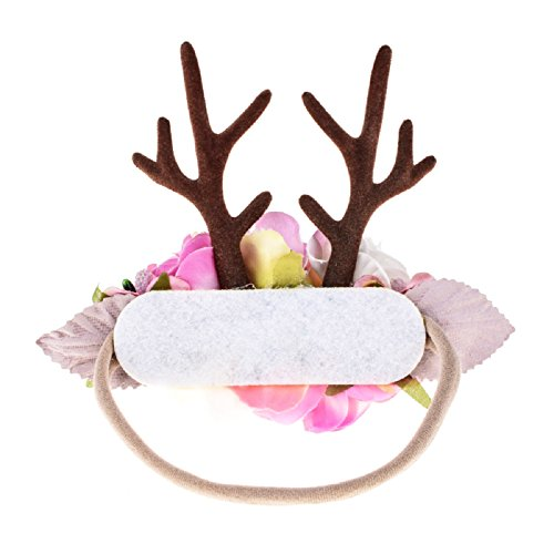 Love Sweety Baby Antler Headband Newborn Rose Floral Crown Wreath Berry Headpiece (Pink) by Love Sweety (Image #1)