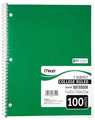 043100066224 - Mead Spiral Notebook, College Ruled, 1 Subject, 8.5 x 11, 100 Sheets, Assorted Colors (06622) carousel main 4