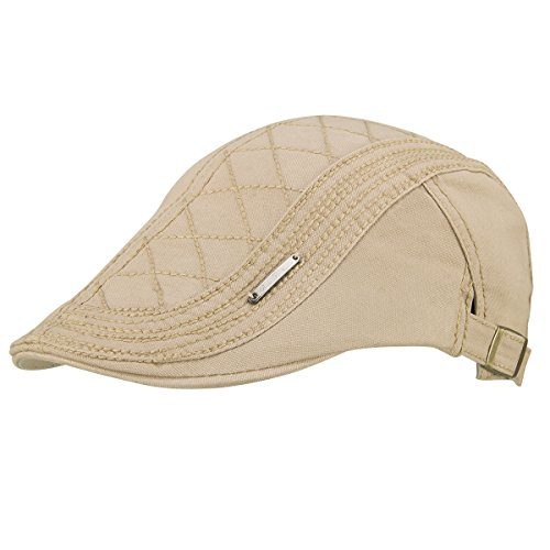 OMECHY Men's Cotton Flat Newsboy Cap Cabbie Ivy Duckbill Irish Cap Gatsby Driving Golf Beret Hat (Scally Flat)