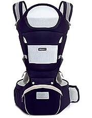 SONARIN Bärsele ergonomisk med höftsits/ren bomull, huvudstöd, multiposition: Doral, ventral, justerbar för nyfödda och småbarn 0 till 36 månader (upp till 30 kg) blå