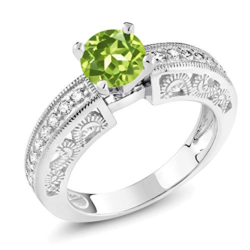Gem Stone King 1.49 Ct Round Natural Peridot Yellow Gold Plated 925 Sterling Silver Ring Available 5,6,7,8,9