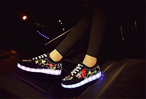 Luminous Print Sabe USB Colors Shoes and Women Charging Men Print LED 7 Sneakers 616rncqE