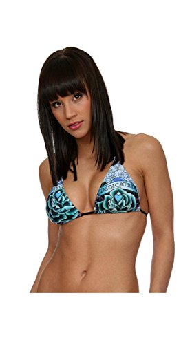 Ed Hardy Dedicated Banded Halter Swimsuit Top (Blue, Medium) Ed Hardy Womens Bikini