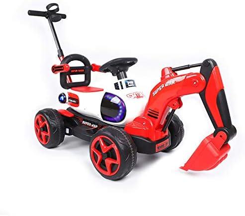 SELMAL Paseo en Digger Excavadora para Niños, Coche eléctrico del Juguete con el Brazo cavador automática y Potente Motor de 6V, Apoyo Reproductor de música y suspensión de Primavera