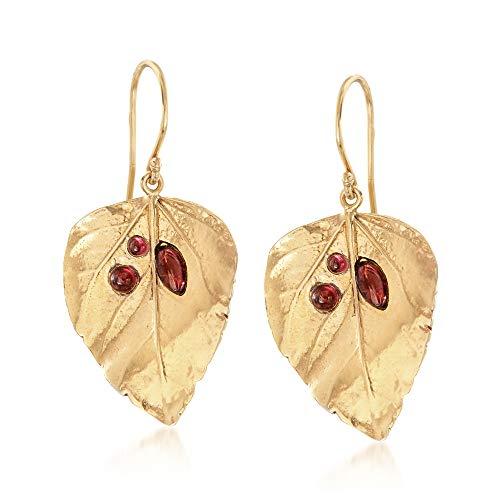 Ross-Simons 1.40 ct. t.w. Garnet Leaf Drop Earrings in 18kt Gold Over Sterling