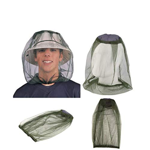- YunZyun Mosquito Head Net Outdoor Head Face Protector Net Hat Cap Net Mesh Headgear for Protect Your Head from Bee Insect and Mosquito (Green)