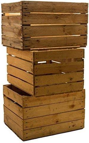 Kistenkolli Altes Land 3 Piezas sólido Cajas de Fruta Cajas DE Vino Cajas DE Manzana Caja Madera Shabby Vintage Medidas Aprox. 49 x 42 x 31cmxxxgebrauchtxxx: Amazon.es: Hogar