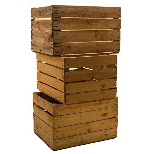 3 pcs massive frutta CASSE VINO casse mela casse legno casse Shabby Vintage dimensioni ca 49 x 42 x 31 cmxxxgebrauchtxxx