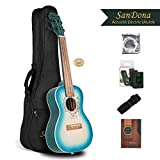 SANDONA Acoustic Electric Concert Ukulele EQ 24 Inch Kit eUKCB-141 | Spruce Solid Wood | Under-Saddle Piezo Bridge Pickup, Strap, Aquila Strings, Digital Tuner and Gig bag | Plage