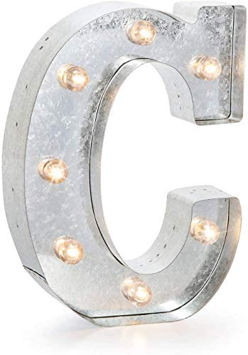"Darice 5915-704 Silver Metal Marquee Letter – C-9.87"" Tall, Galvanized Finish"