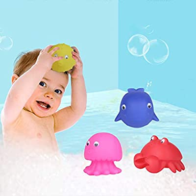 Coxeer 4PCS Bath Toy Set Interactive Marine Animal Squirt Water Toy Tub Toy Pool Toy for Children: Kitchen & Dining