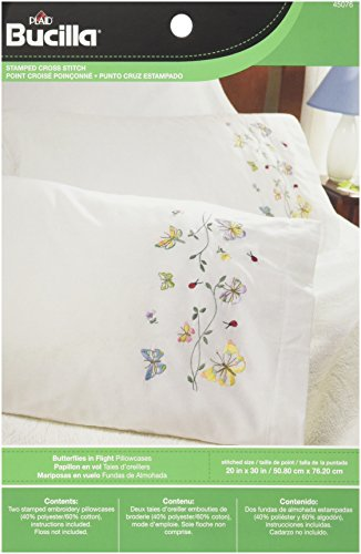 Embroidery Pillowcase Kits (Bucilla Stamped Embroidery Pillow Case Pair, 20 by 30-Inch, 45076 Butterflies In Flight)