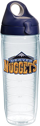 Tervis 1231050 NBA Denver Nuggets Primary Logo Tumbler with Emblem and Navy with Gray Lid 24oz Water Bottle, Clear by Tervis