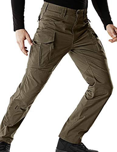 CQR Men's Flex Stretch Tactical Work Outdoor Operator Rip-Stop Trouser Pants EDC, Flex Multipocket(tfp521) - Tundra, - Uniform Tactical Mens