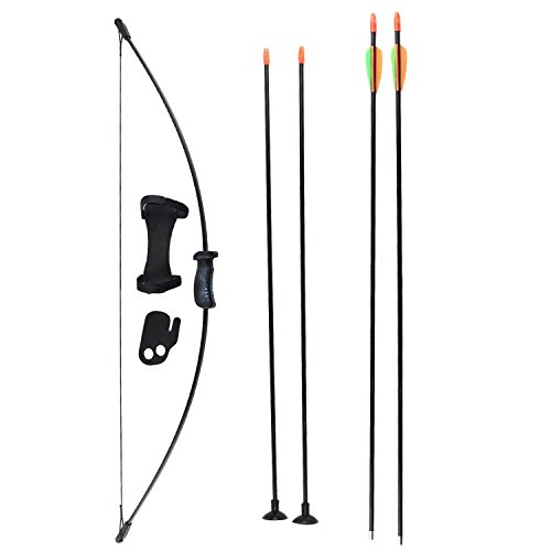 SinoArt Long Bow and Arrow Set for Children Kids Youth Outdoor Sports Game Target Toy Gift Bow Set with 4 Arrows 16 LBs (Black)