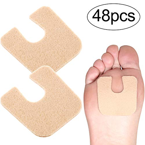 48 Pieces U-shaped Felt Callus Pads Callus Cushions Toe Pads Self Adhesive Corn Pads for Protecting Foot