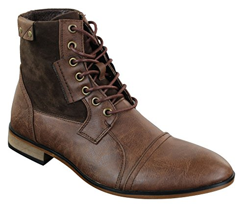 Mens Retro Vintage Urban Ankle Boots Slim Leather Suede Laced Smart Casual Brown HHIt2QM