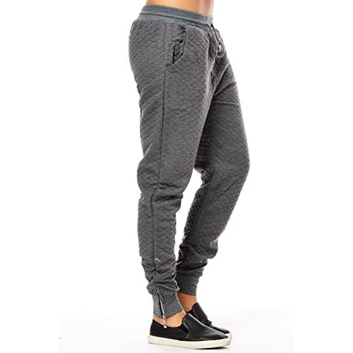 5989845b370eb5 Womens Ladies Quilted Fit Cut Zipper Ankle Joggers Pants ydtrk04 80%OFF
