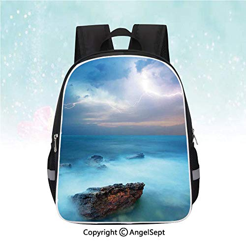 (School Student Backpack,Tropic Sea with Rocks and Storm Flash in the Air Tranquil But Dangerous Epic Scenery,13