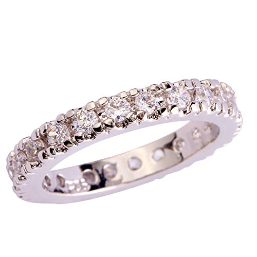 - Emsione 925 Sterling Silver Plated Created White Topaz Wedding Band Cubic Zirconia Stackable Engagement Ring Size 6-13