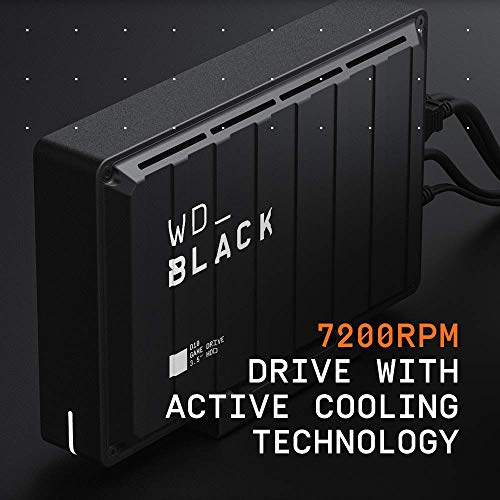 WD_Black 8TB D10 Game Drive, Portable External Hard Drive Compatible with Playstation, Xbox, PC, & Mac - WDBA3P0080HBK-NESN