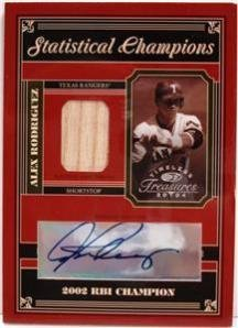 - 2004 Timeless Treasures Stat Champ. Alex Rodriguez 02 RBI Bat Jersey AUTO /10 Baseball Trading Card