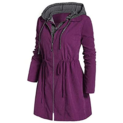 FEDULK Womens Hooded Coat Zipper Thicken Jacket Winter Warm Space Plus Cotton Overcoat Outwear at  Women's Clothing store