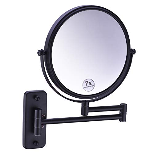 Anpean 8 Inch Double-Sided Swivel Wall Mounted Makeup Mirror with 7x Magnification, Matte Black