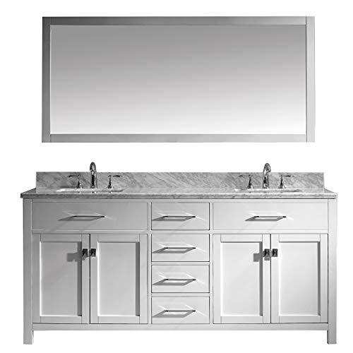 - Virtu USA MD-2072-WMSQ-WH Caroline Bathroom Vanity 72 inches White