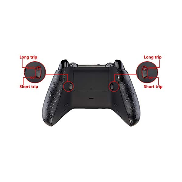 eXtremeRate FlashShot Trigger Stop Bottom Shell Kit for Xbox One S & One X Controller, Redesigned Back Shell & Textured Black Handle Grips & Hair Trigger for Xbox One S X Controller Model 1708 4