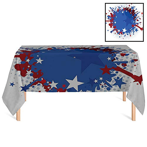 SATVSHOP Spill Proof Tablecloth /55x86 Rectangular,Sports Football Soccer Ball with Splashed Like Digital Background Image Ruby Dark Blue White and Red.for Wedding/Banquet/Restaurant.