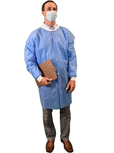 Keystone LC0-BK-SMS-XL-BLUE SMS Lab Coat, No Pocket, Knit Wrists, Snap Front, Single Collar, XL, Blue (Pack of 30)