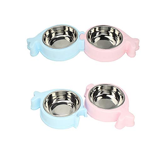 Stainless Steel Pet Dog Cat Double Bowl Feeder Set, with Plastic Non Skid Base, for Small Medium Dog Food Water Feeding, Set of 2 (Blue Pink)