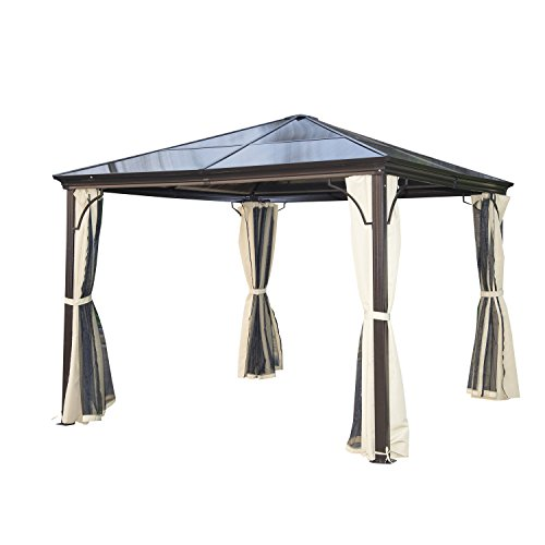 Outsunny 10' x 10' Steel and Polycarbonate Hardtop Gazebo Canopy Cover with Mesh Net -