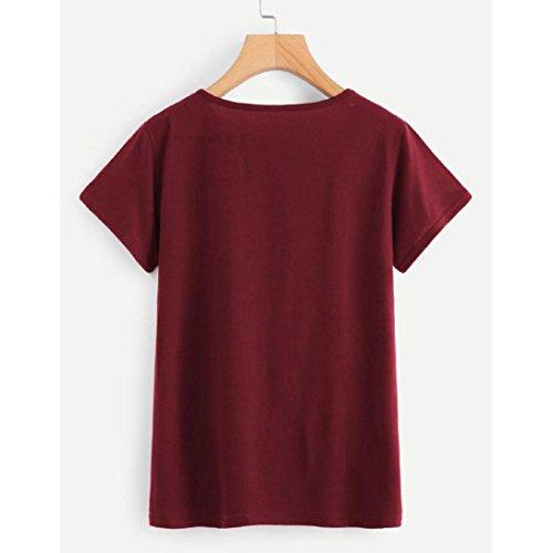 Personnalité Eté Lenfesh T Estampillée Vin shirt Manches Plus Courtes Rond Femme Col Taille xR6xT