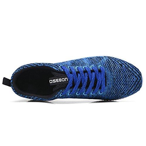 Tiosebon Uomo Leggero Sportivo Atletico Scarpe Da Ginnastica Casual Stringate Scarpe Sportive Da Corsa 8258 Blu